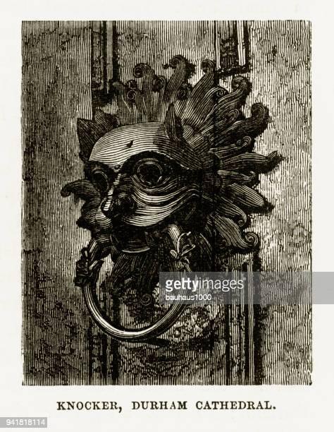 illustrations, cliparts, dessins animés et icônes de heurtoir de porte, la cathédrale de durham à durham, en angleterre victorienne gravure, 1840 - marteaudeporte