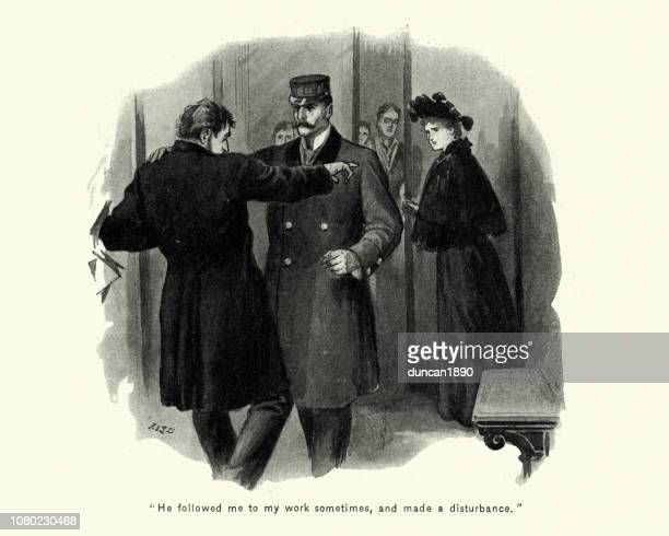 doorman stopping a man harassing a young woman, 1890s - sexual harassment stock illustrations, clip art, cartoons, & icons