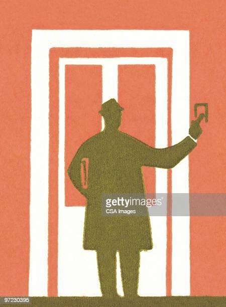 ilustraciones, imágenes clip art, dibujos animados e iconos de stock de door-to-door salesman - un solo hombre