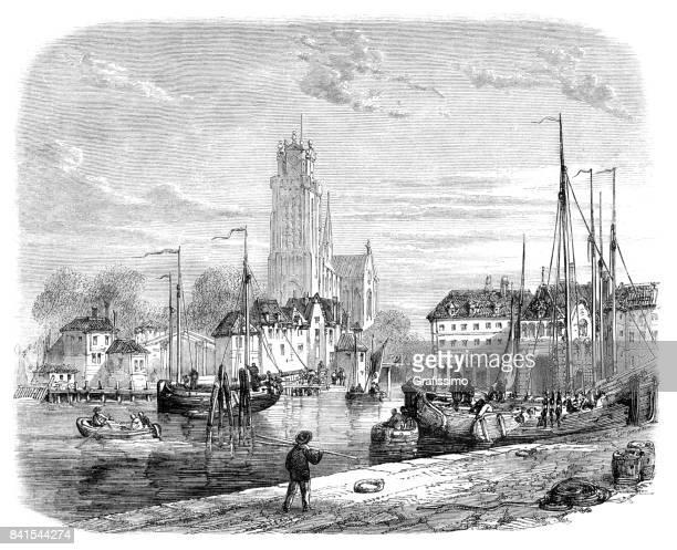 dordrecht city in netherlands engraving 1859 - dordrecht stock illustrations