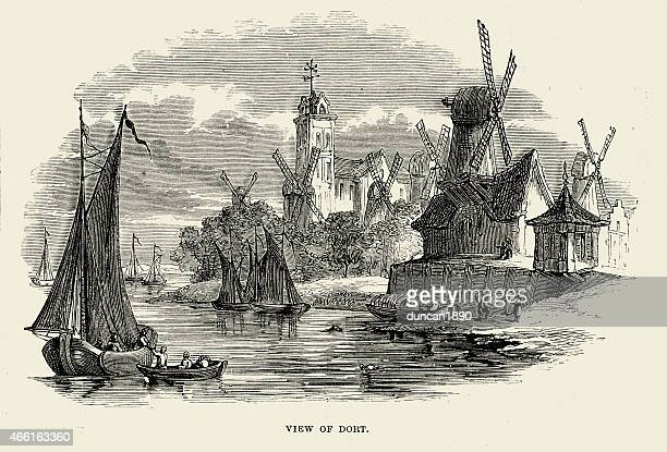 dordrecht, south holland, netherlands 19th century - dordrecht stock illustrations