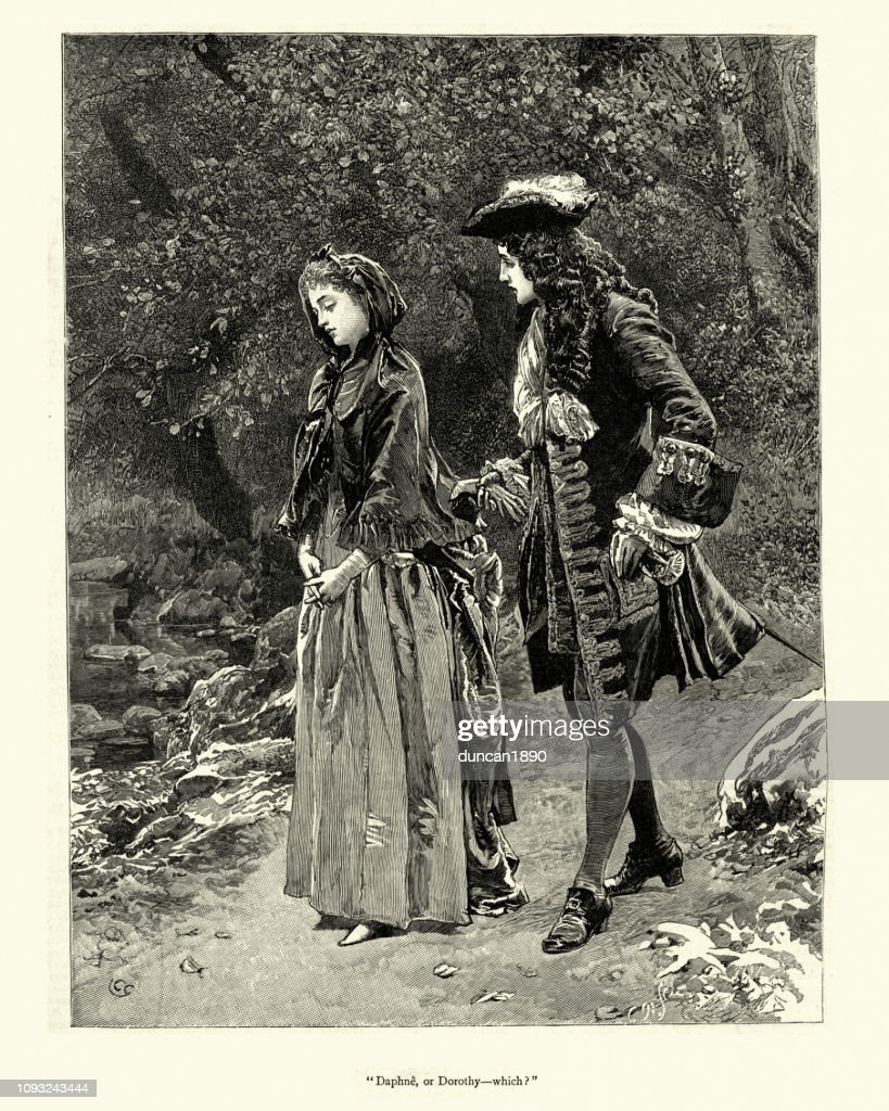 Dorothy Forster, Young counple walking together, 18th Century : stock illustration