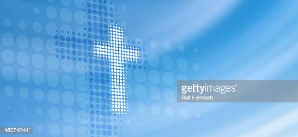 dot patterned cross reflected on abstract surface - colour gradient stock illustrations