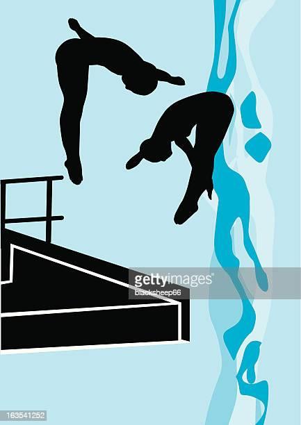 stockillustraties, clipart, cartoons en iconen met double dive - match sport
