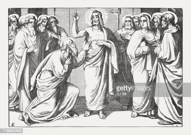doubting thomas (john 20, 24-29), holzstich, veröffentlicht 1850 - jesus resurrection stock-grafiken, -clipart, -cartoons und -symbole