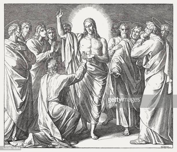 Doubting Thomas (John 20, 24-29), wood engraving, published 1890