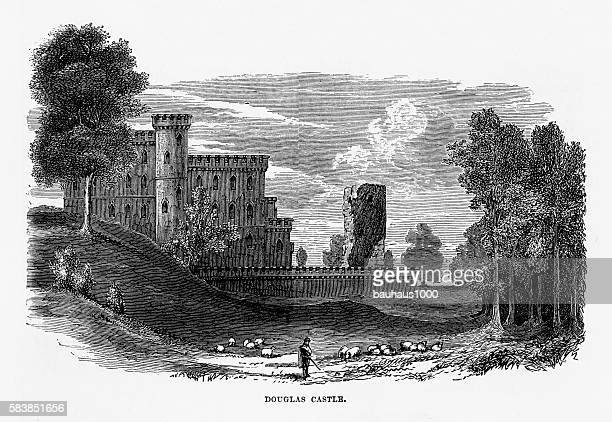 douglas castle in douglas, scotland victorian engraving, circa 1840 - circa 14th century stock illustrations, clip art, cartoons, & icons