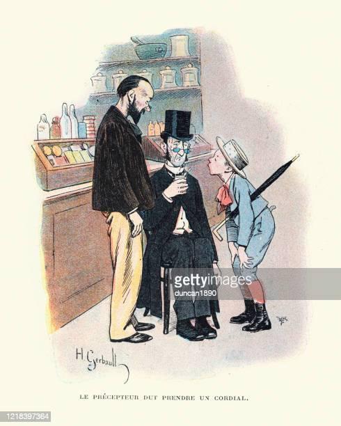 illustrazioni stock, clip art, cartoni animati e icone di tendenza di dour affrontato uomo rovi bevendo un bicchiere di cordiale, vittoriano - farmacia