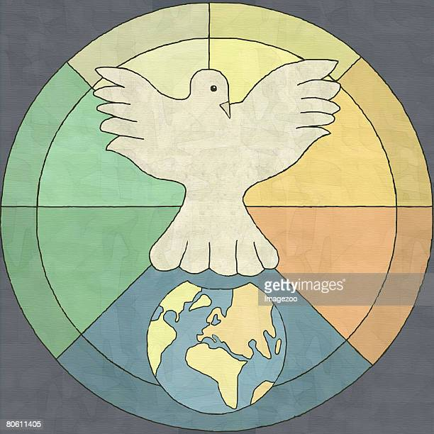 a dove hovering above the earth - number of people stock illustrations, clip art, cartoons, & icons