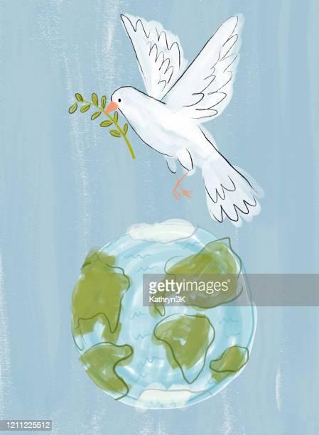 illustrazioni stock, clip art, cartoni animati e icone di tendenza di dove of peace over earth - giornata mondiale della terra