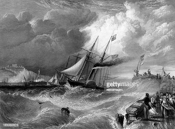 dover, the landing of prince albert (engraved illustration) - sail stock illustrations, clip art, cartoons, & icons