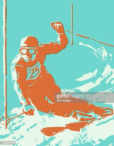downhill skier - ski racing stock illustrations
