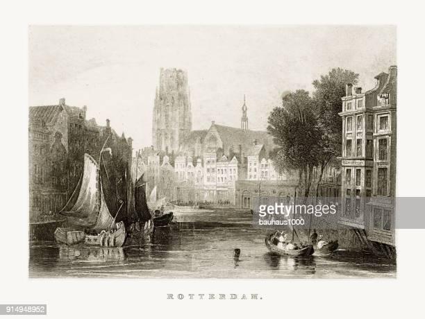 ロッテルダム市内中心部、運河、1887 年頃、オランダ - 17世紀点のイラスト素材/クリップアート素材/マンガ素材/アイコン素材