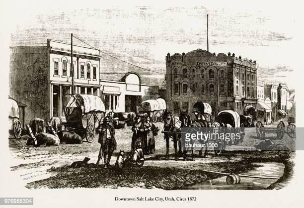 Downtown Salt Lake City, Utah Engraving, Circa 1872