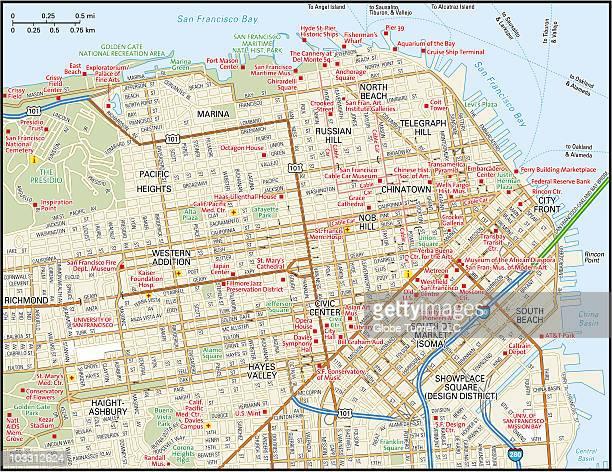 downtown san francisco, california - san francisco california stock illustrations