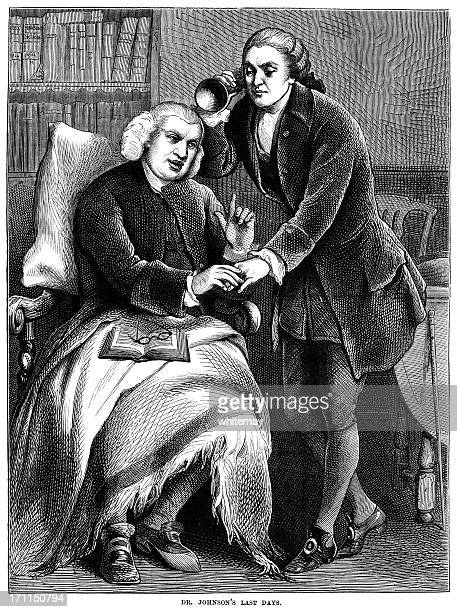 dr johnson's last days - victorian illustration - hearing aid stock illustrations, clip art, cartoons, & icons