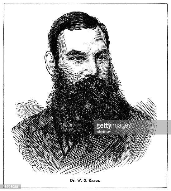 dr w g grace (victorian engraving) - w. g. grace stock illustrations