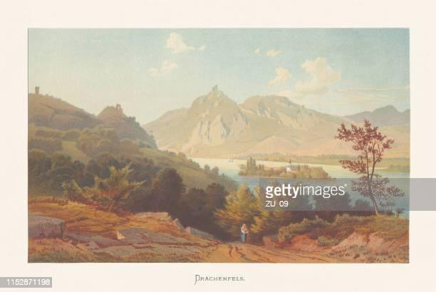 drachenfels, siebengebirge, nordrhein-westfalen, deutschland, chromolithographie, erschienen ca. 1870 - fels stock-grafiken, -clipart, -cartoons und -symbole