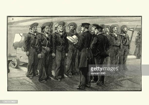 bildbanksillustrationer, clip art samt tecknat material och ikoner med utarbetande kustvakter till sitt skepp, hms duke of wellington - duke