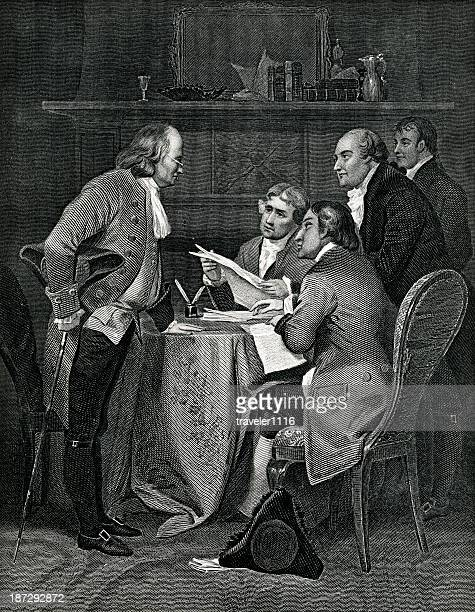 drafting the declaration of independence - declaration of independence stock illustrations