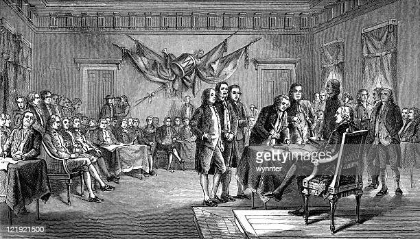 drafting the declaration of independence in antique illustration - declaration of independence stock illustrations
