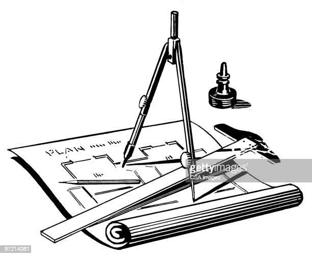drafting tools - instrument of measurement stock illustrations
