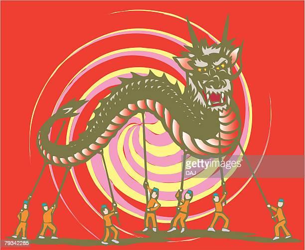 Dragon Dance, Woodcut, Nagasaki Prefecture, Japan