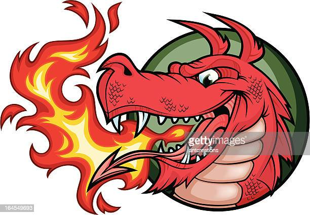 (welsh) dragon fire red - animal scale stock illustrations, clip art, cartoons, & icons