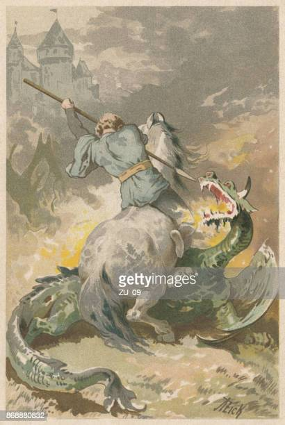 Dragon Slayer, lithograph, published in 1898