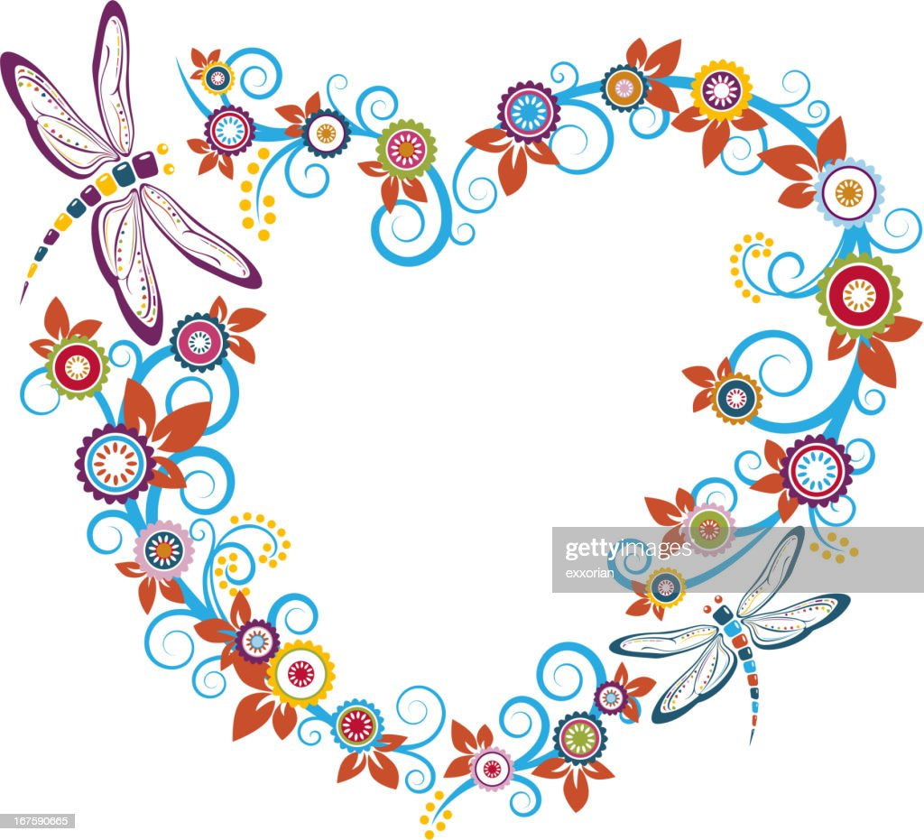 Dragonfly And Floral In Heart Shaped Frame Vector Art | Getty Images