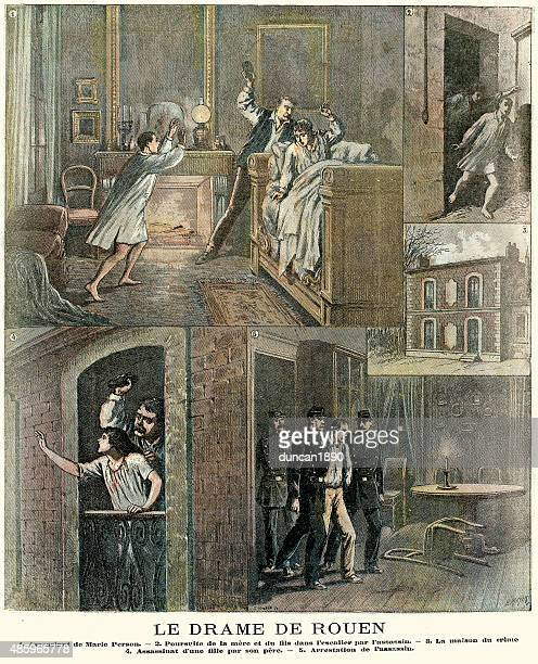 drama in rouen - the murder of marie person 1890 - rouen stock illustrations, clip art, cartoons, & icons