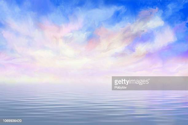 dramatic clouds reflected in the water - atmospheric mood stock illustrations, clip art, cartoons, & icons