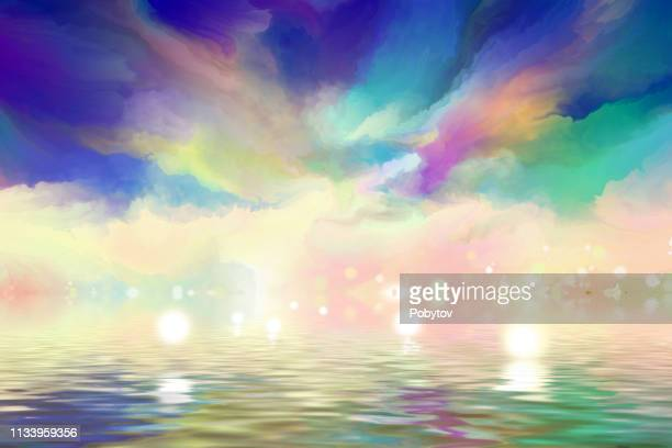dramatic clouds reflected in the water - atmospheric mood stock illustrations