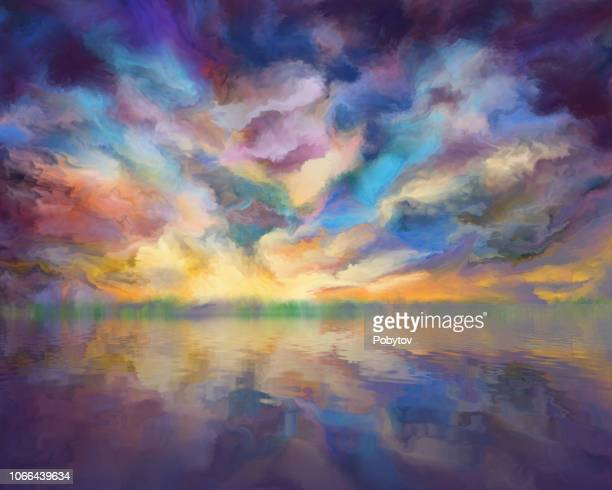 dramatic clouds reflected in the water, painting - surrealism stock illustrations