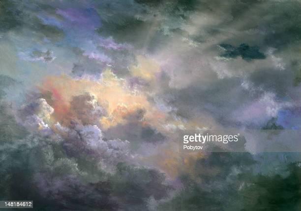 dramatic heaven - dramatic sky stock illustrations