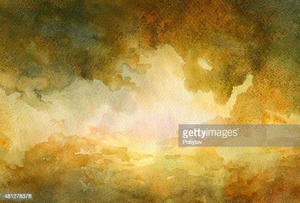 dramatic sky - watercolor background - overcast stock illustrations, clip art, cartoons, & icons
