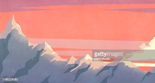 dramatic sunset sky over mountain peaks - dramatic sky stock illustrations