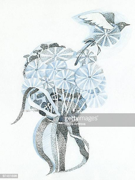 a drawing created with fine detail in blue and black depicting a bouquet of flowers and a flying bir - animal limb stock illustrations, clip art, cartoons, & icons