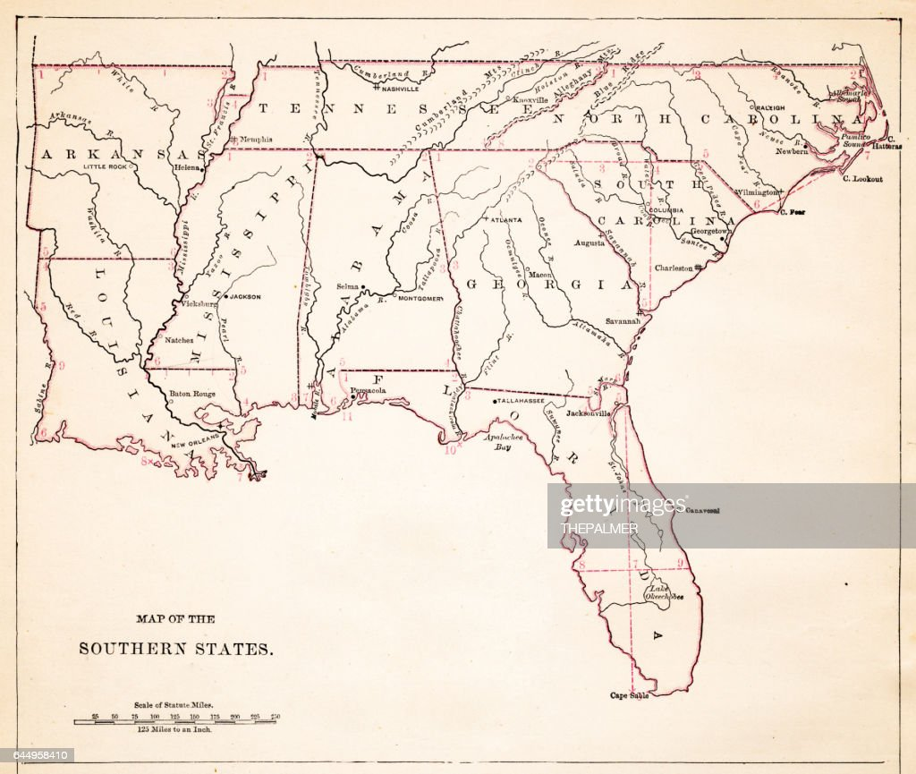 Drawing Map Of Southern States Usa Stock Illustration Getty - Map of southern states of usa