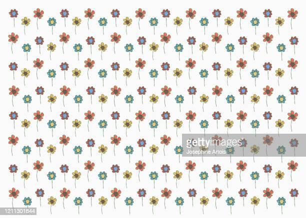 drawing multi colored flowers on white background - small stock illustrations