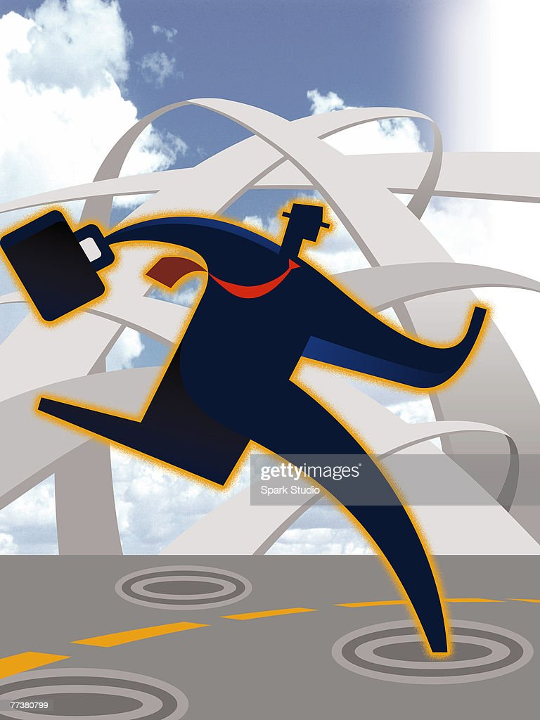 A drawing of a busy salesman : Stock-Illustration