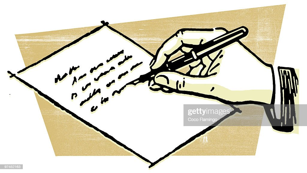 a drawing of a hand writing a letter ストックイラストレーション