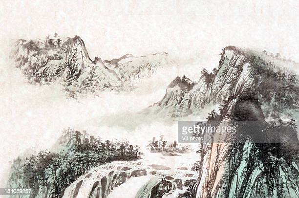 drawing of a mountain landscape - painted image stock illustrations