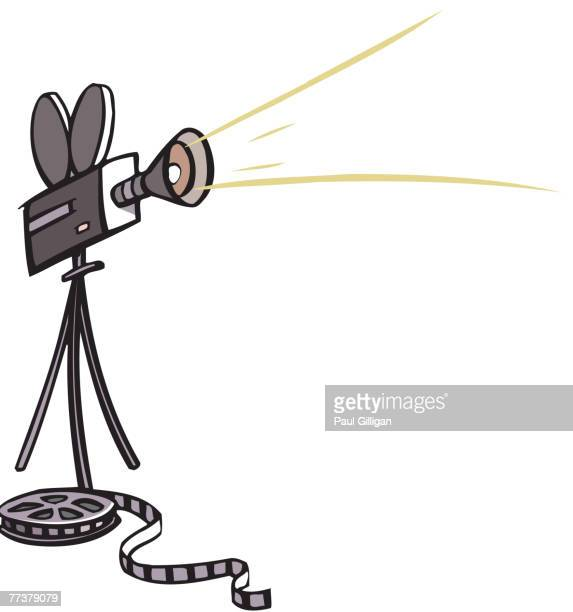 drawing of a movie camera and film - film studio stock illustrations, clip art, cartoons, & icons