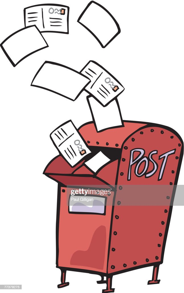 Drawing of a red mail box with letters flying out : Illustration