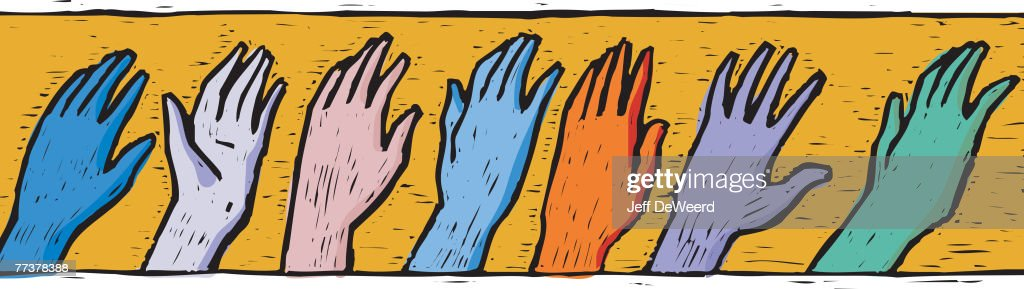 A drawing of a row of different hands : Illustration