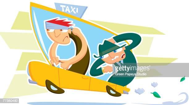 ilustraciones, imágenes clip art, dibujos animados e iconos de stock de a drawing of a taxi driver and a businessman - taxista