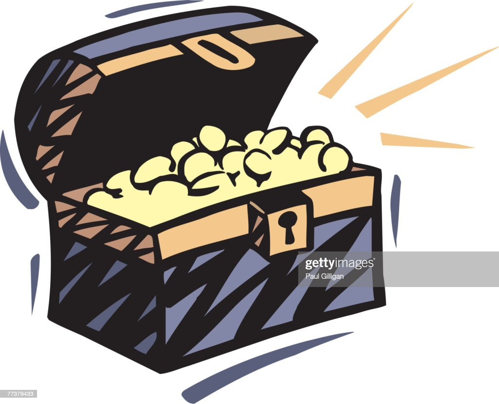 Drawing of a treasure chest : Illustration