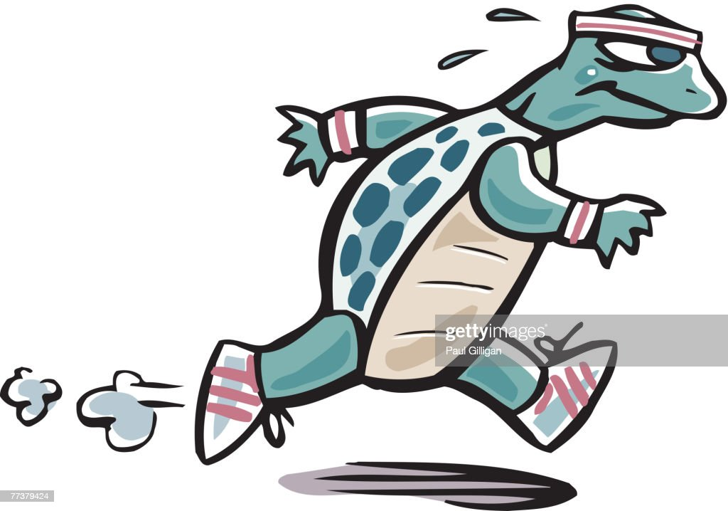 Drawing of a turtle running : Illustration