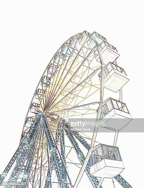 Drawing of ferris wheel, low angle view